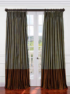 Banded Thai Silk Curtains