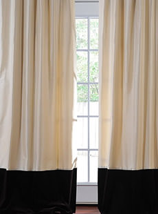Banded Thai Silk With Velvet Curtains