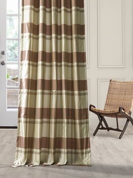 Designer Silk Plaid Curtains