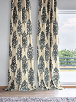 Flocked Faux Silk Curtains