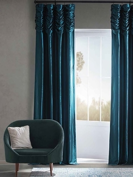 Ruched Faux Silk Taffeta Curtains