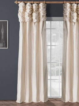 Ruched Thai Silk Curtains