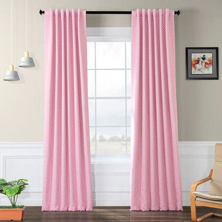 Pink Polka Dot Blackout Back-Tab Pole Pocket Curtain