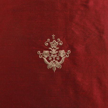 Trophy Red Embroidered Silk Swatch