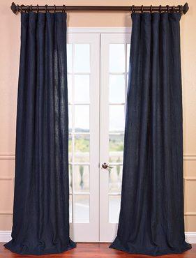 Denim Blue French Linen Curtain