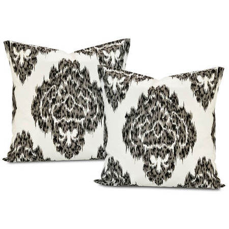 Ikat Black Printed Cotton Cushion Cover