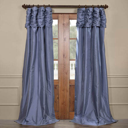 Wisteria Blue Ruched Faux Solid Taffeta Curtain