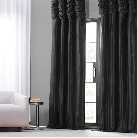 Jet Black Ruched Faux Solid Taffeta Curtain