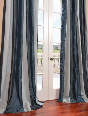 Park Ave Faux Silk Taffeta Stripe Curtain