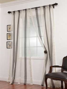 Signature Havannah Ash Striped Linen & Voile Weaved Sheer Curtain