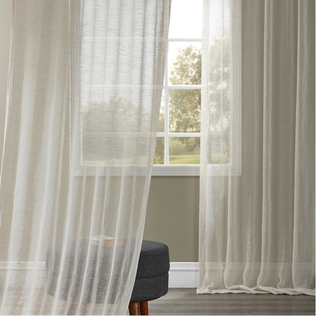Open Weave Cream Linen Sheer Curtain