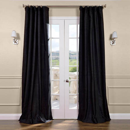 Black Textured Dupioni Silk Curtain
