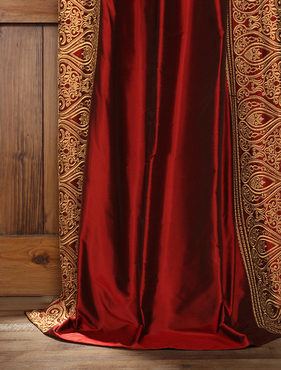 Bombay Bold Red Silk Curtain