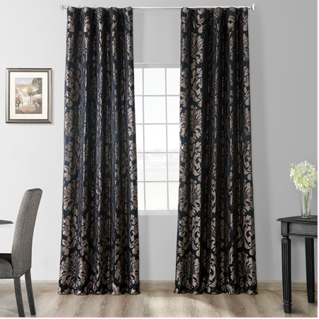 Astoria Black & Pewter Faux Silk Jacquard Curtain
