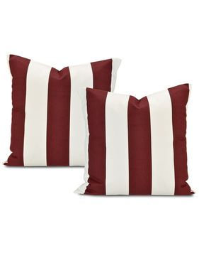 Cabana Burgundy Printed Cotton Cushion Cover (Pair)