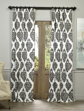 Ikat Black Printed Cotton Curtain