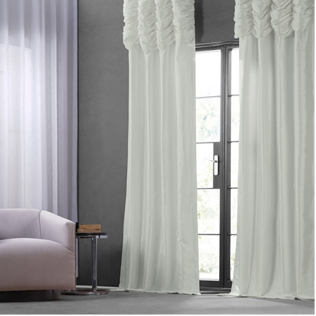 Eggshell Ruched Faux Solid Taffeta Curtain