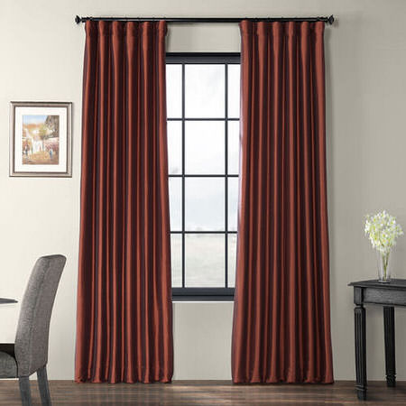 Paprika Faux Silk Taffeta Curtain