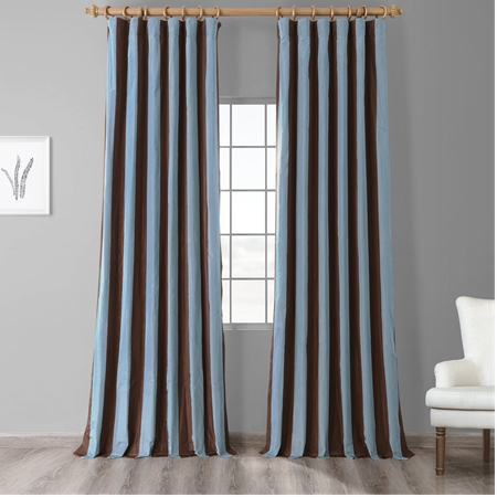 Crockett Faux Silk Taffeta Stripe Curtain