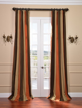 Burma Faux Silk Taffeta Stripe Curtain