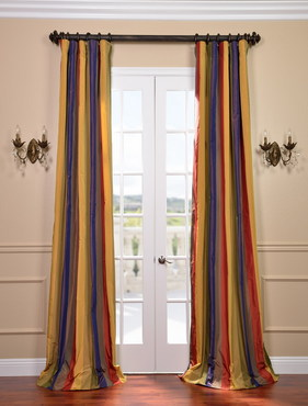 Kaleidoscope Faux Silk Taffeta Stripe Curtain