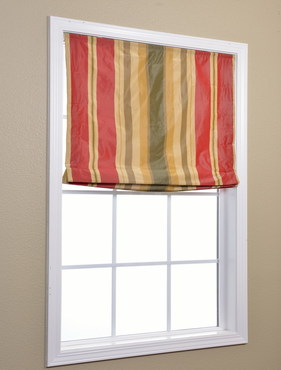 Striped Faux Silk Taffeta Roman Shade