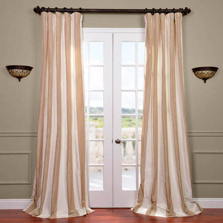 Cappuccino Faux Silk Taffeta Stripe Curtain