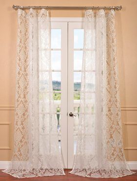 Antoinette White Patterned Sheer Curtain