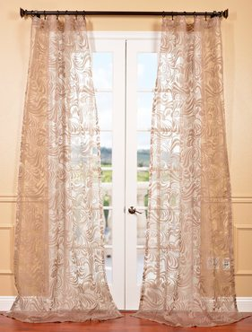 Sabrina Taupe Patterned Sheer Curtain