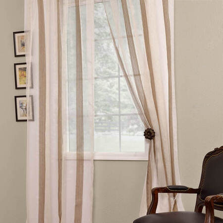 Signature Havannah Cocoa Striped Linen & Voile Weaved Sheer Curtain