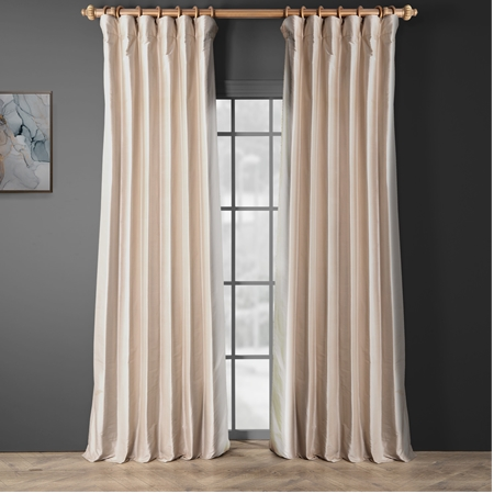 Pearl White Thai Silk Curtain