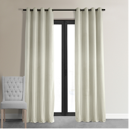 Signature Off White Grommet Blackout Velvet Curtain
