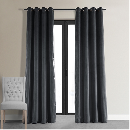 Signature Natural Grey Grommet Blackout Velvet Curtain