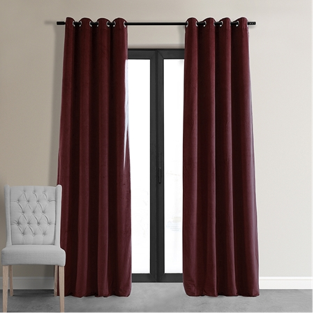 Signature Burgundy Grommet Blackout Velvet Curtain