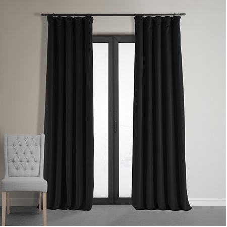 Warm Black Grommet Velvet Blackout Curtain
