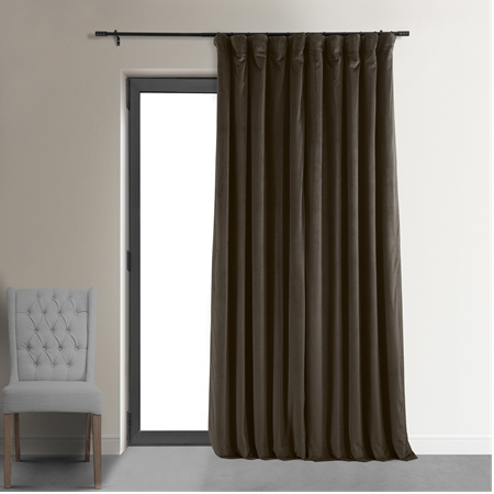 Signature Java Double Wide Velvet Blackout Pole Pocket Curtain