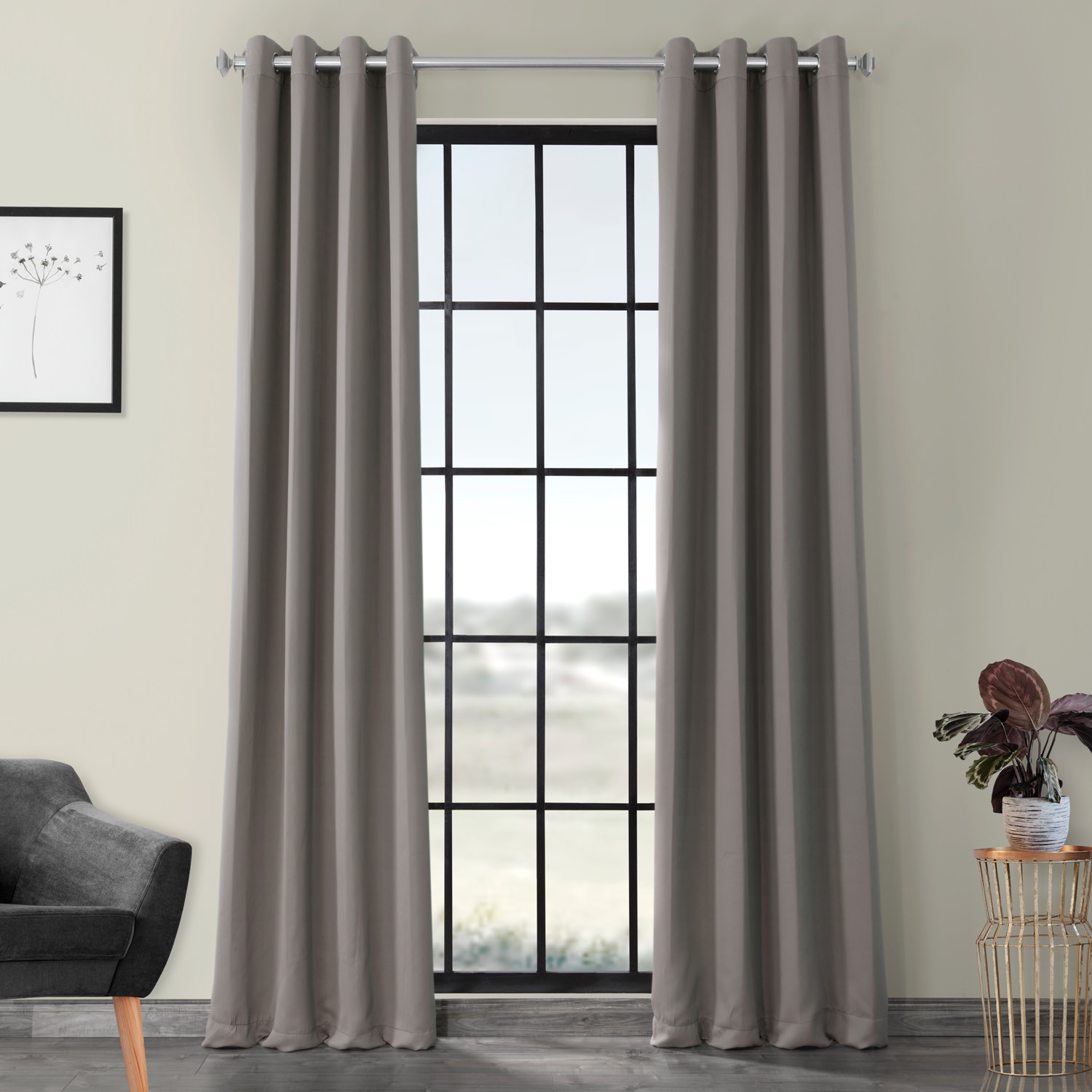 Grommet Neutral Grey Blackout Curtain