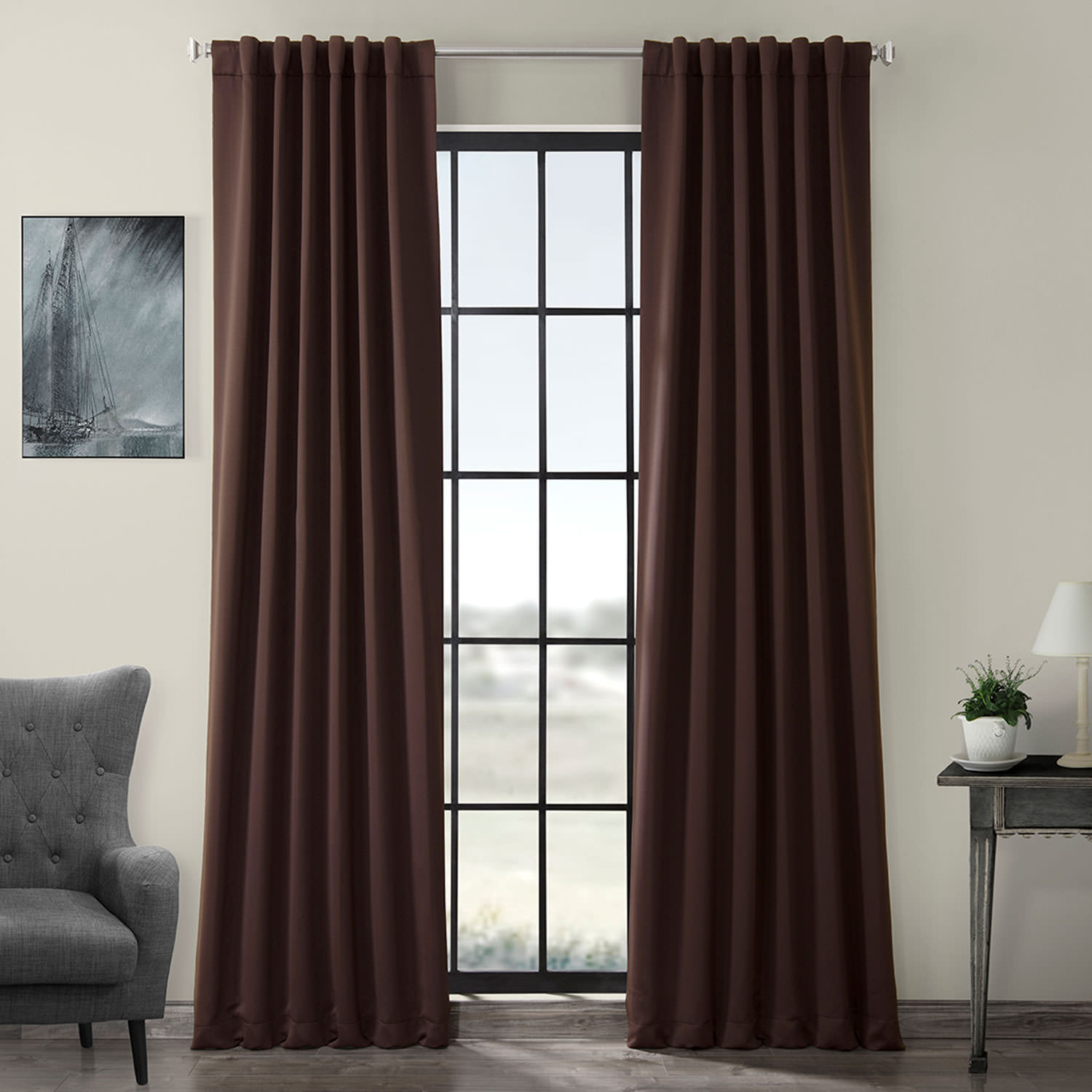 Pole Pocket Java Blackout Curtain
