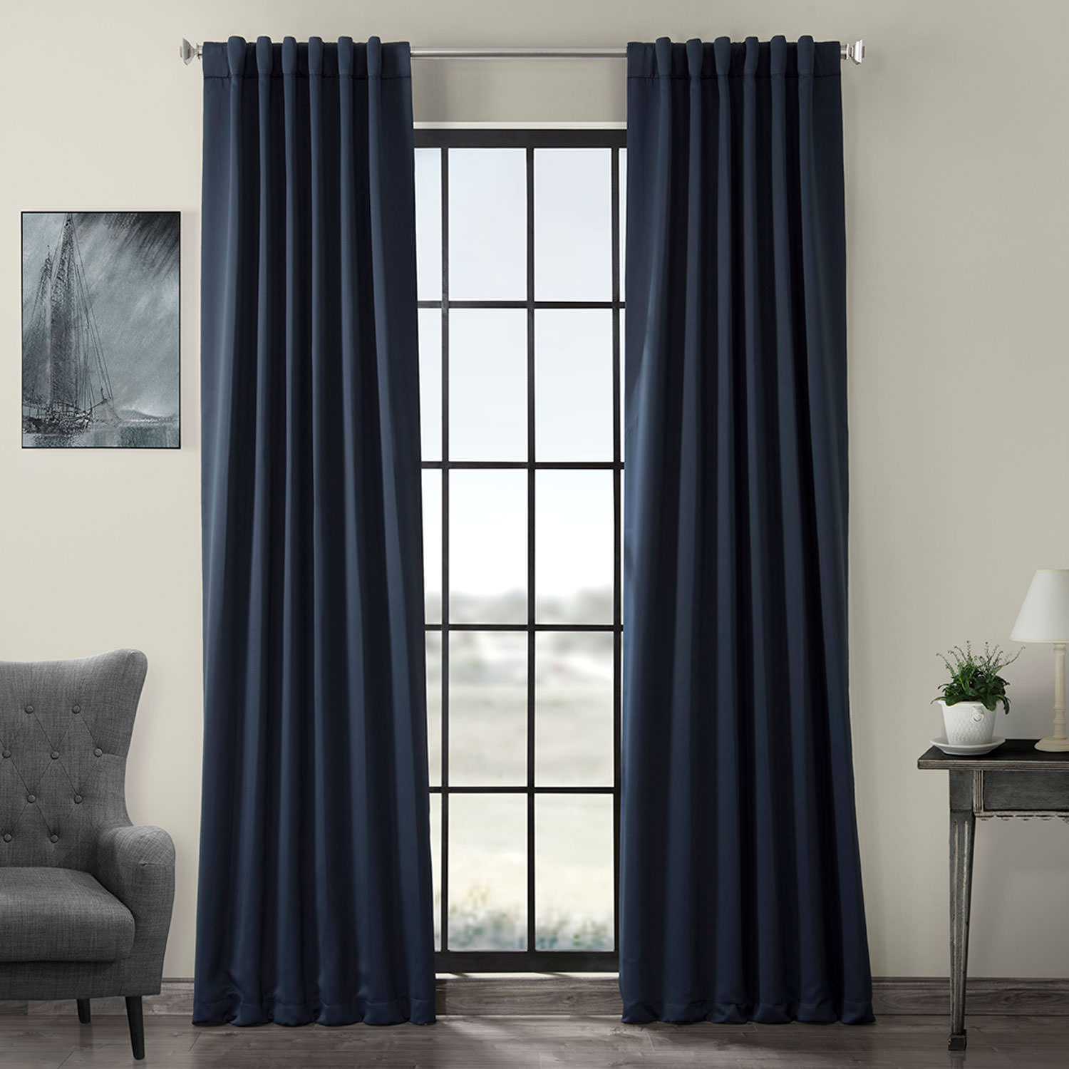 Pole Pocket Eclipse Blue Blackout Curtain