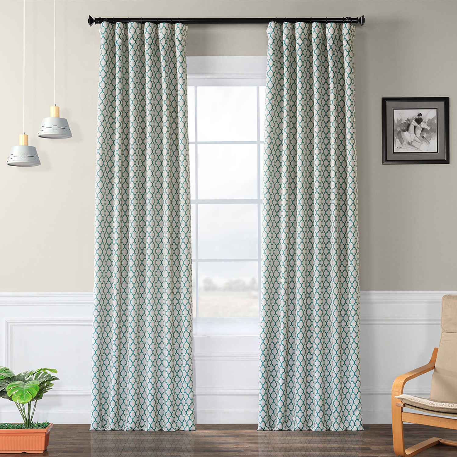 Casablanca Teal Blackout Curtain