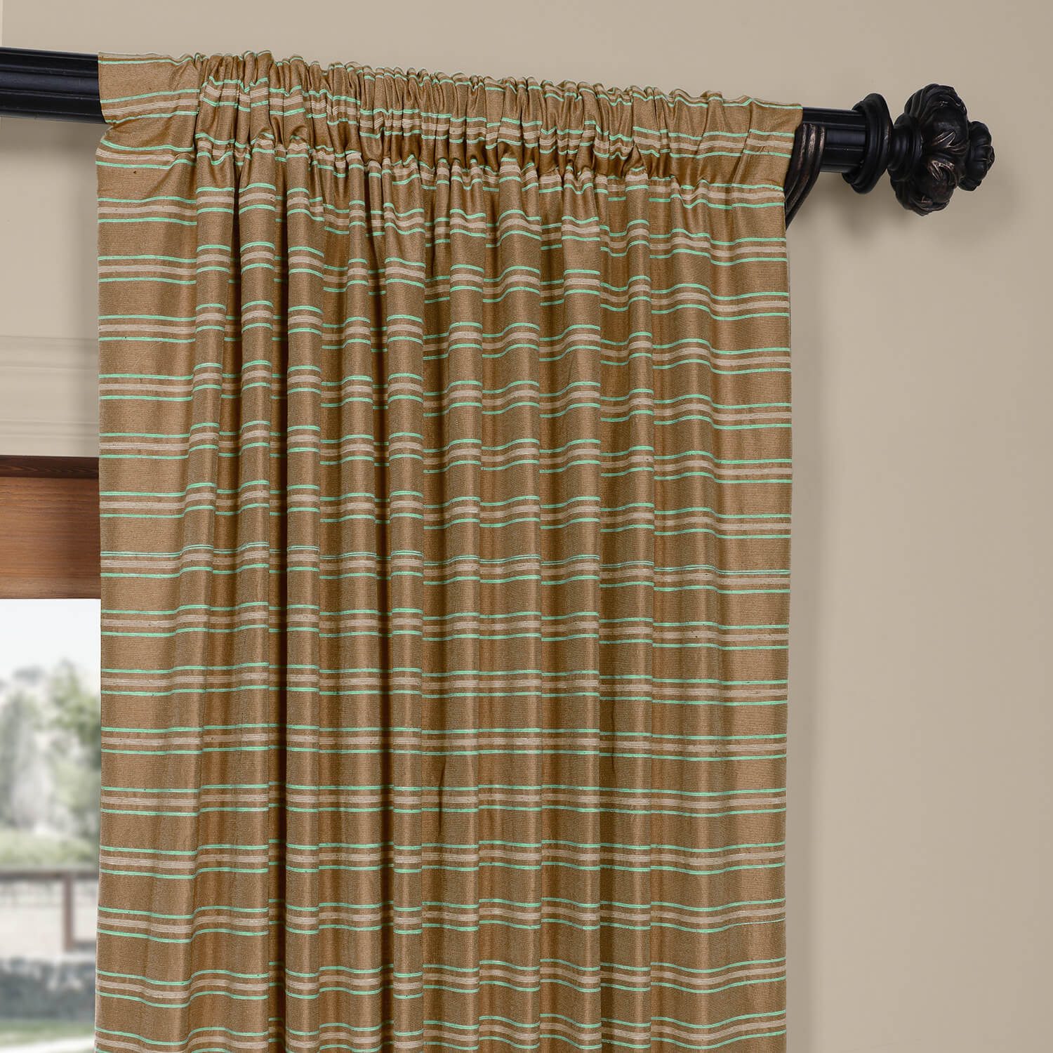 Mocha & Teal Casual Cotton Curtain