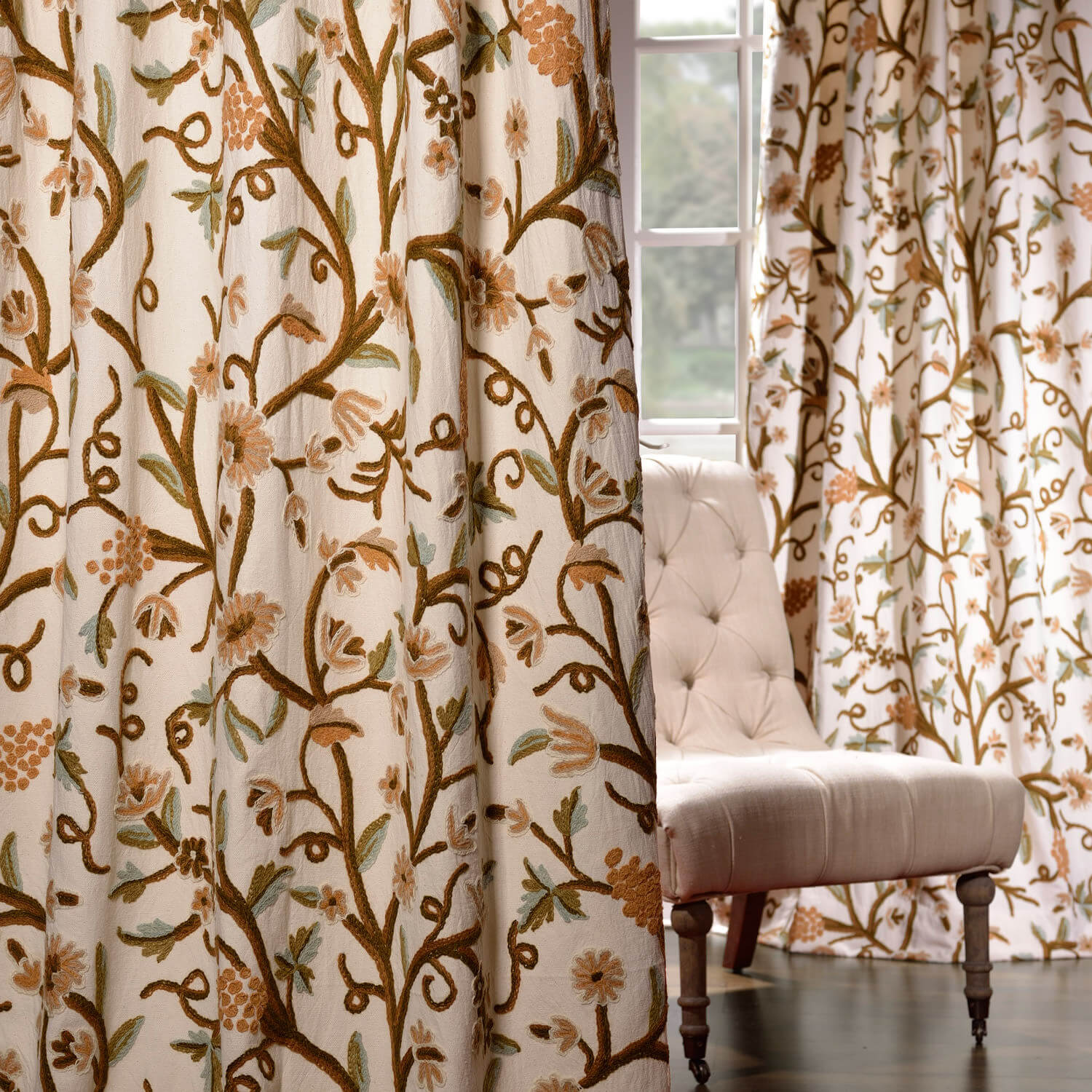 Elise Embroidered Cotton Crewel Curtain