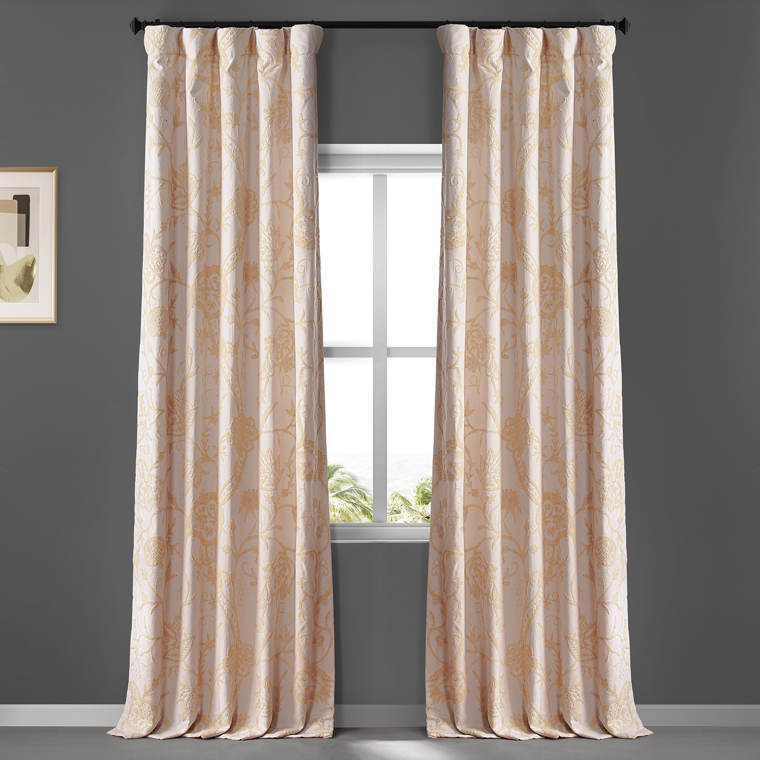 Lorraine Embroidered Cotton Crewel Curtain