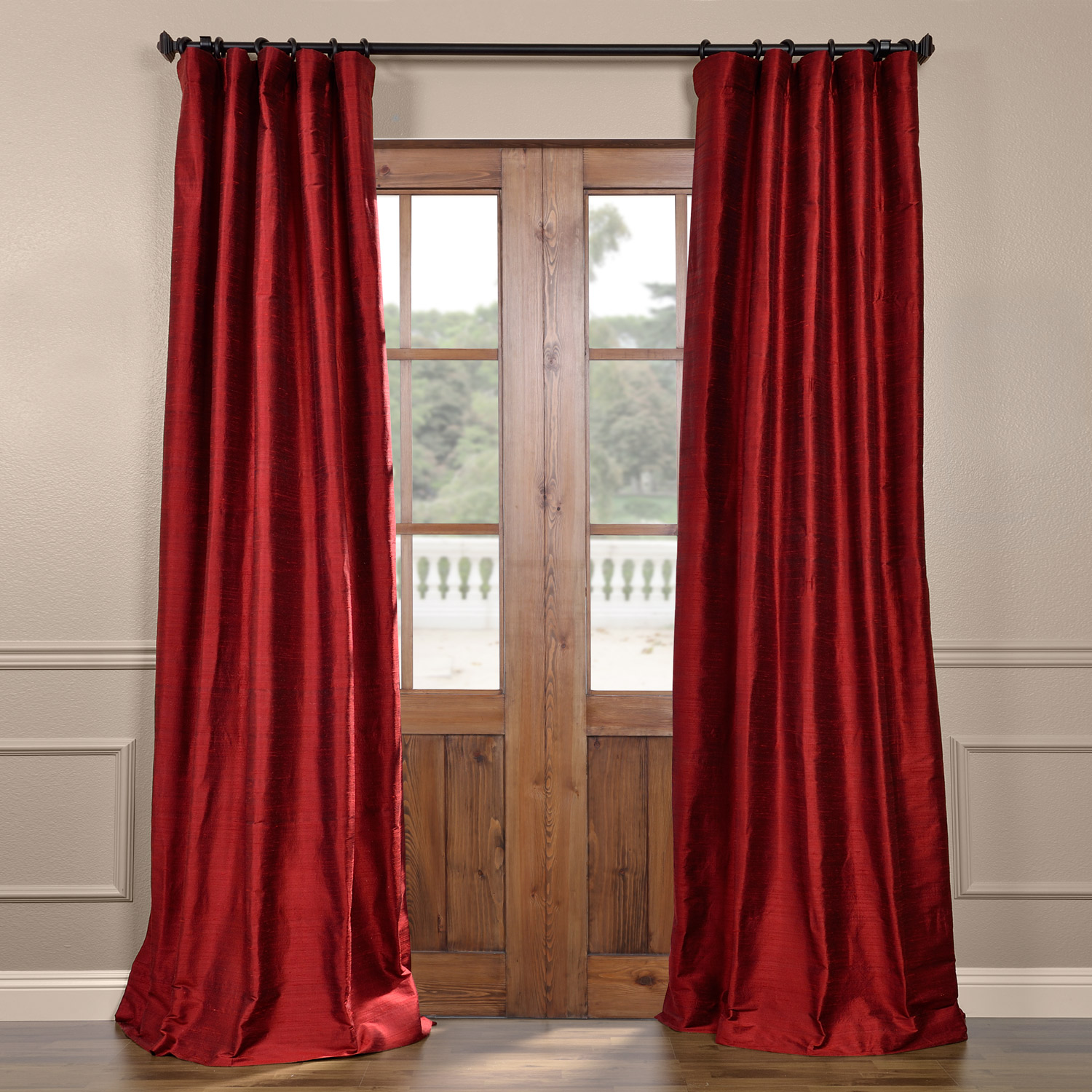 Chili Pepper Textured Dupioni Silk Curtain