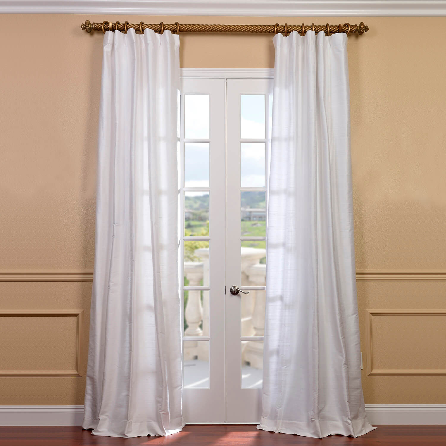 Lily White Textured Dupioni Silk Curtain