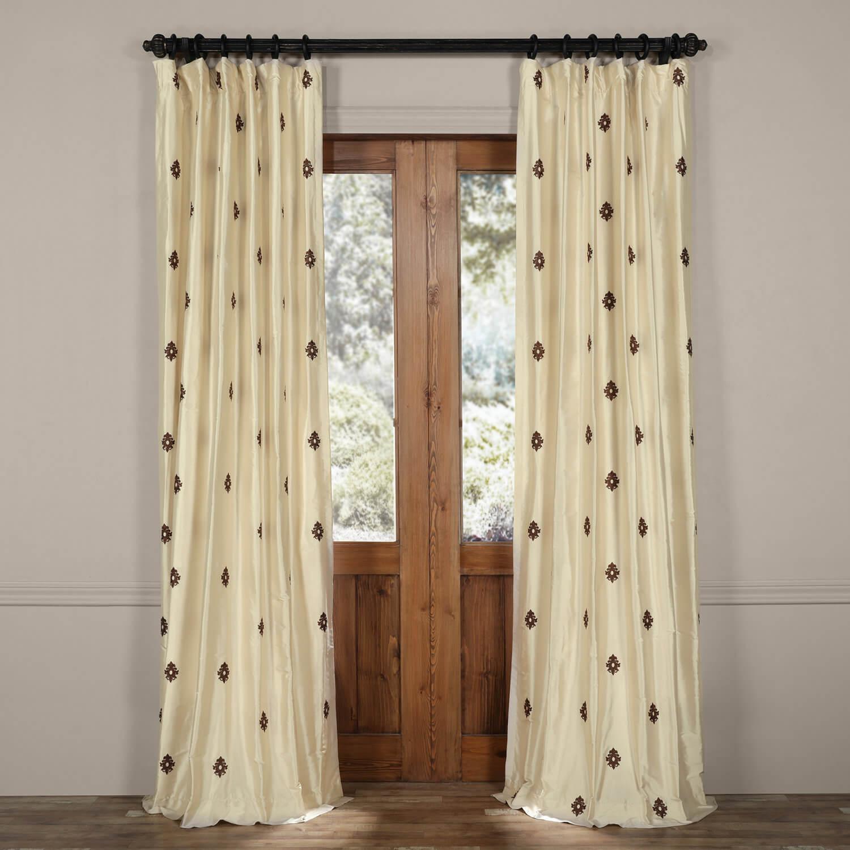 Mirror Pearl White Silk Curtain