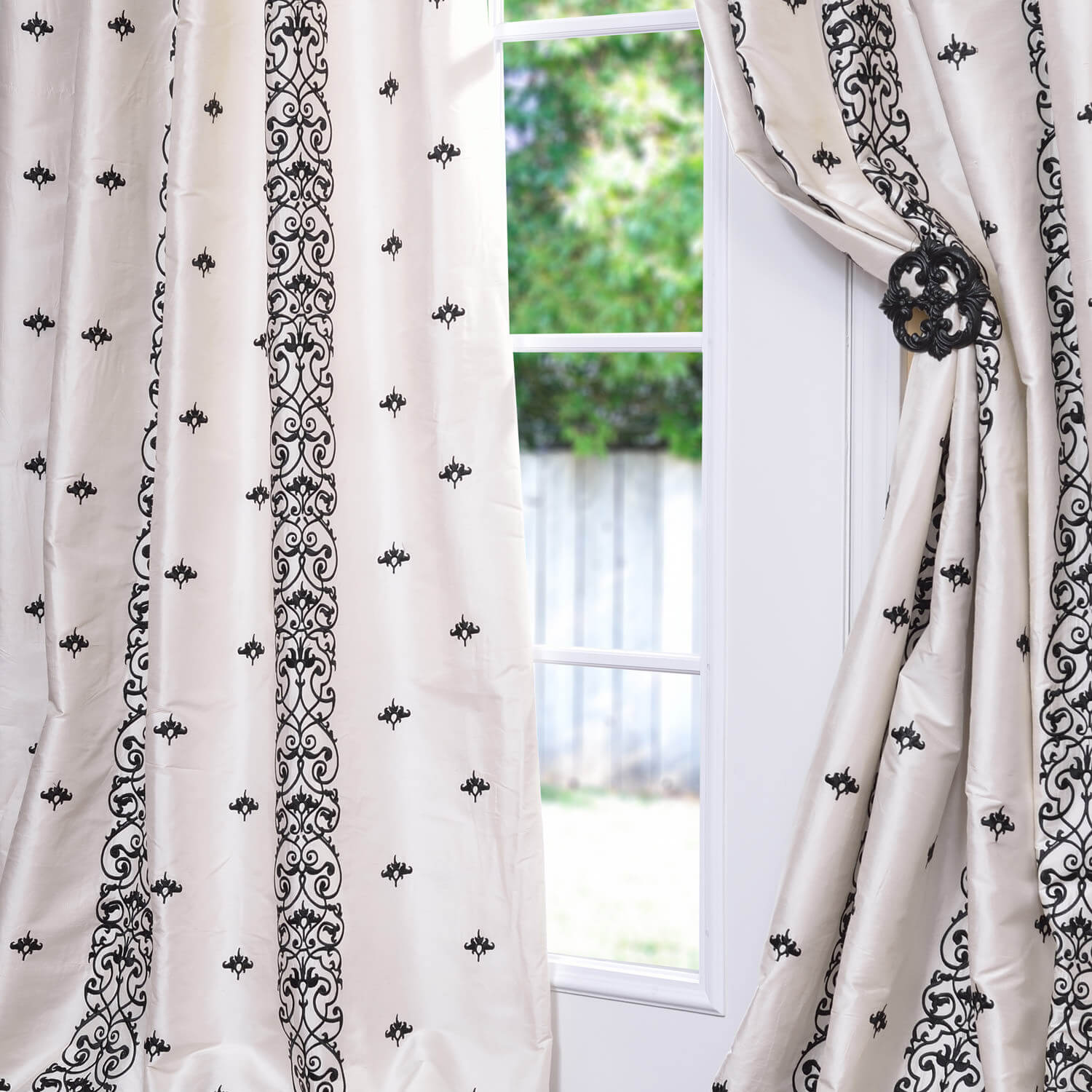 Indria Pearl White Silk Curtain