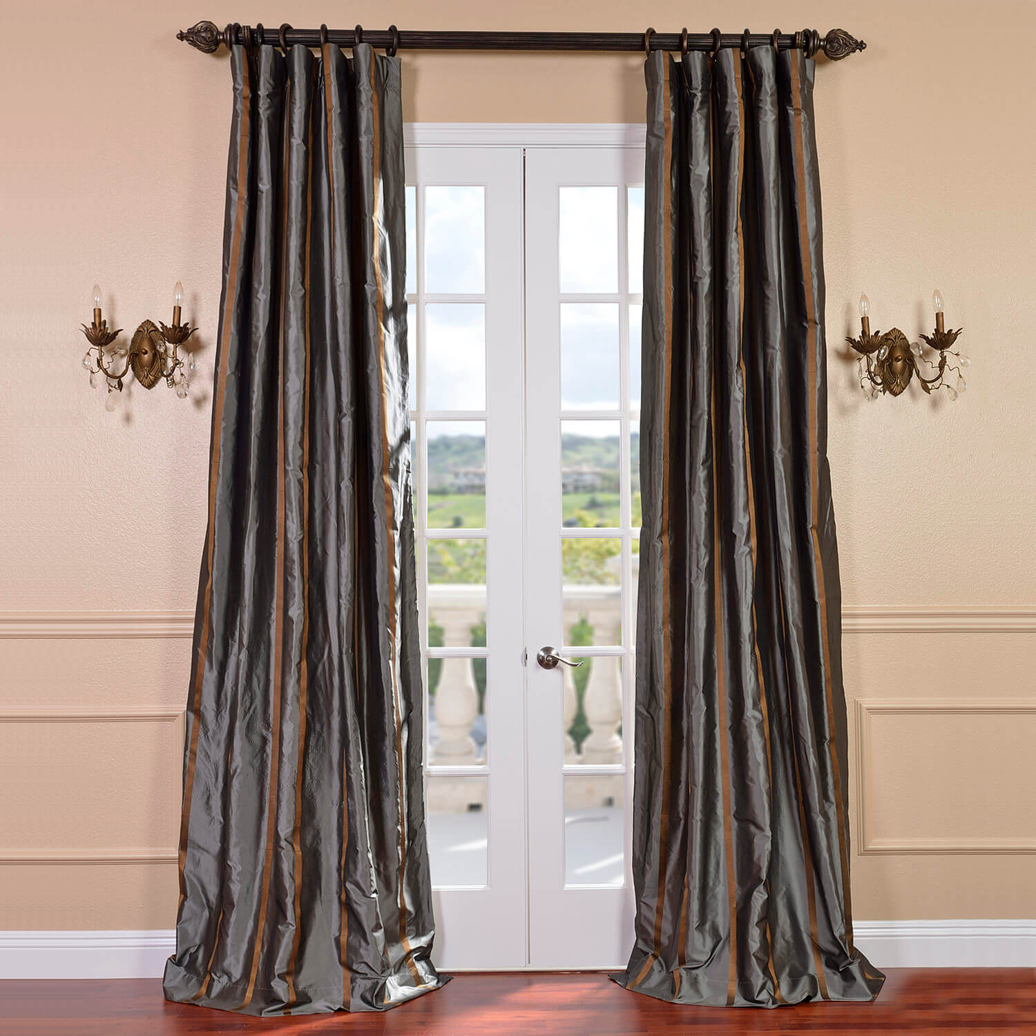 Preston Silk Taffeta Stripe Curtain