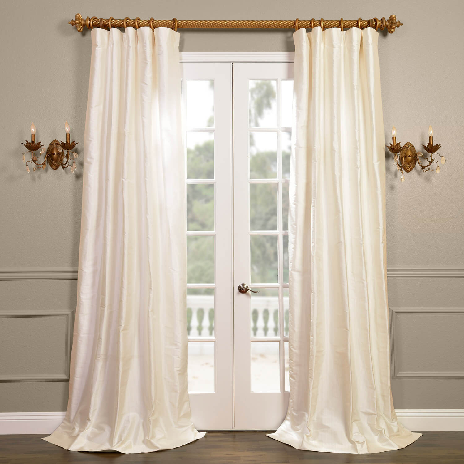Cambridge White Silk Stripe Curtain