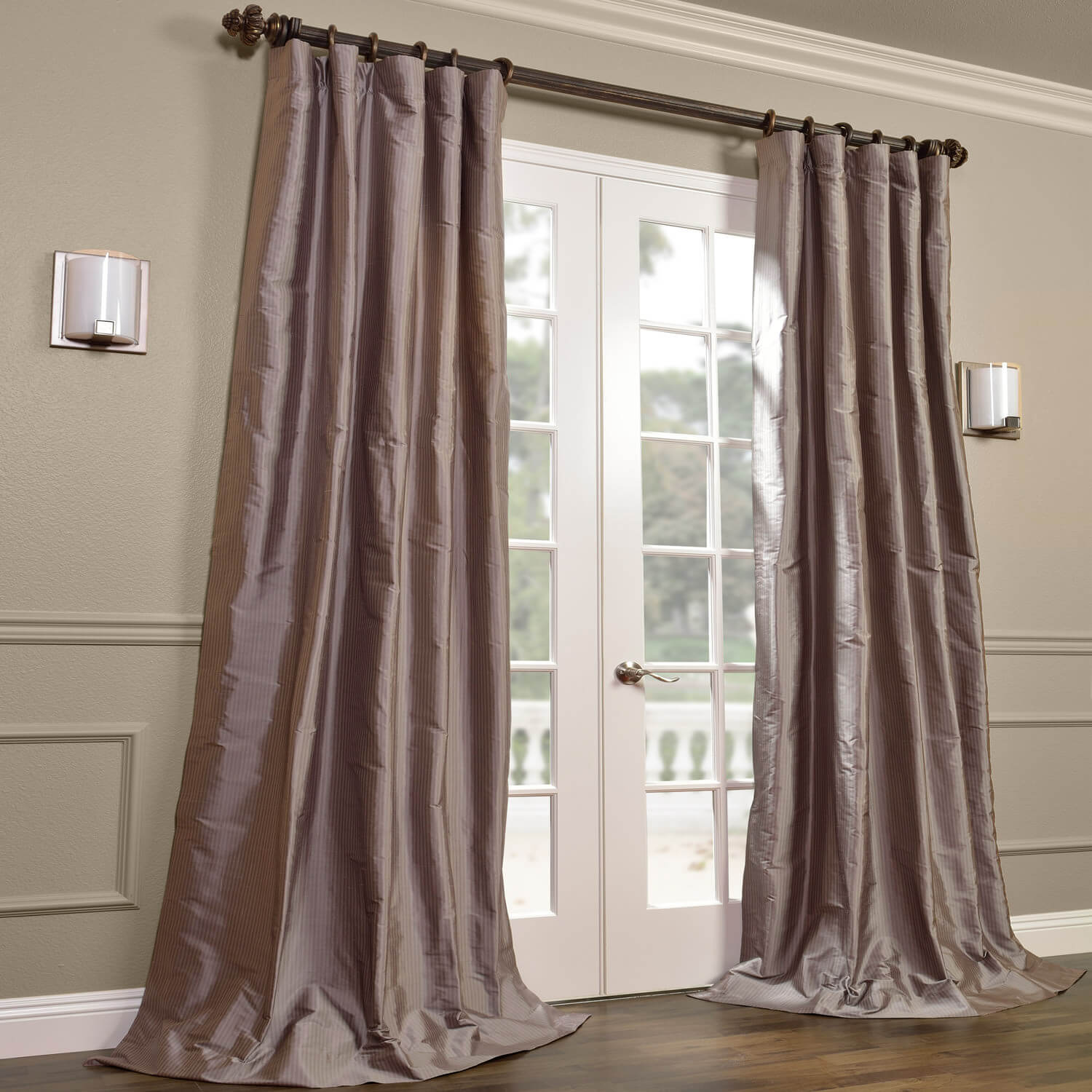 Cambridge Grey Silk Stripe Curtain